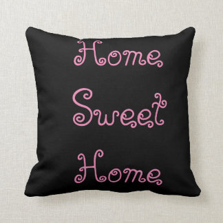 Home Sweet Home Throw Pillow - Black & Pink