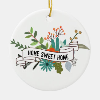 Home Sweet Home | trendy floral Round Ceramic Decoration