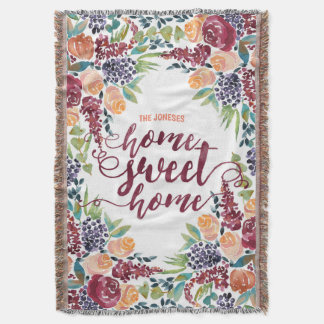 Home Sweet Home Typography Watercolor Fall Bouquet Throw Blanket