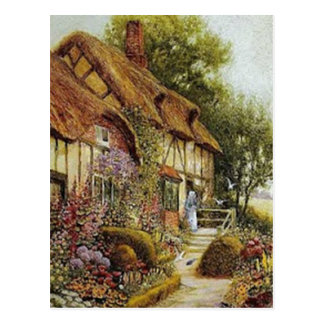 Home Sweet Home Vintage County Cottage Postcard