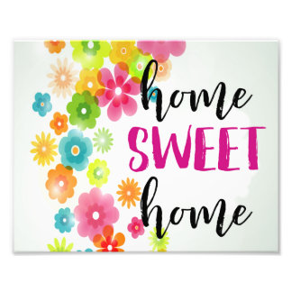 Home Sweet Home Watercolor Floral Art Print