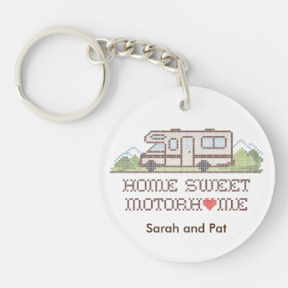 Home Sweet Motor Home, Class C Fun Road Trip Double-Sided Round Acrylic Key Ring