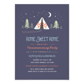 "Home Sweet Tipi Housewarming Invite 5"" X 7"" Invitation Card"