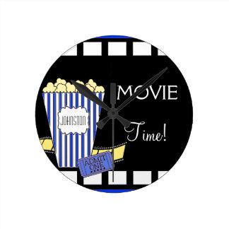 Home Theater Popcorn Box Blue Round Clock