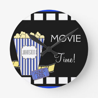 Home Theater Popcorn Box Blue Wall Clock