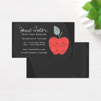 Home Tutor Teacher Apple Chalkboard Business Card