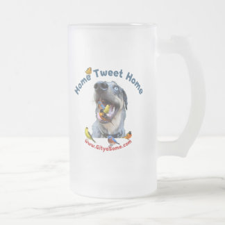 Home Tweet Home Bird Dog Frosted Glass Beer Mug