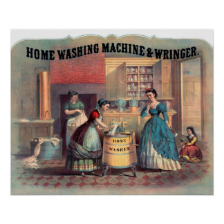 Home Washing Machine Wringer New York Poster