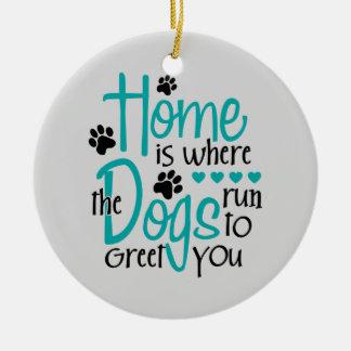 Home With Dog Ceramic Ornament