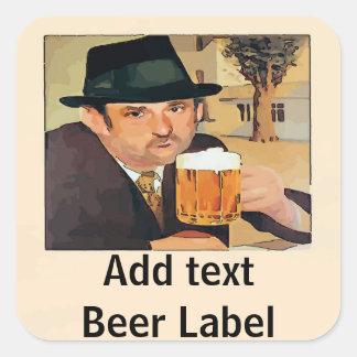 Homebrew Beer, Label, add text Square Sticker