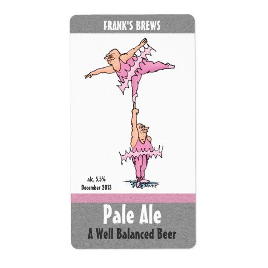 Homebrew Beer Labels with Funny Tutu Cartoon