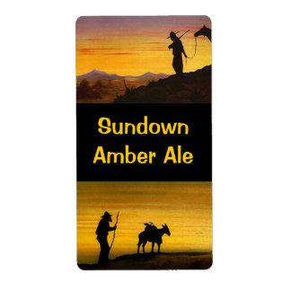 Homebrew labels Sundown Western Amber Ale