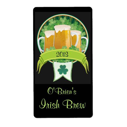 Homebrewed Irish Beer Label Shipping Label