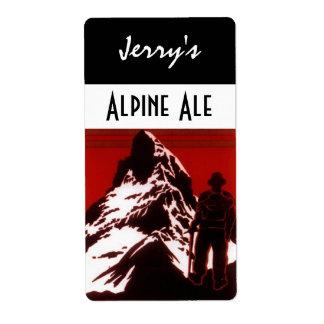 Homebrewing Beer Bottle Label Alpine Hiker Ale