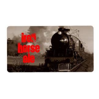 Homebrewing Beer Label Iron Horse Steam Ale Train Shipping Label
