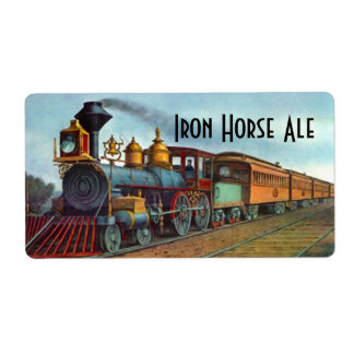 Homebrewing Beer Label Iron Horse Train Locomotive Shipping Label