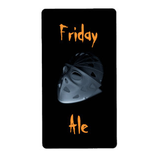 Homebrewing Friday Ale Hockey Mask Halloween Label Shipping Label