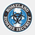 Homeland Zombie Security Skull - Blue Round Sticker