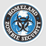 Homeland Zombie Security Skull - Blue Round Sticker