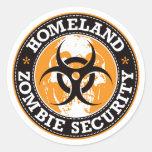 Homeland Zombie Security Skull - Orange Round Sticker