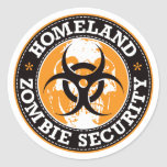 Homeland Zombie Security Skull - Orange Round Sticker