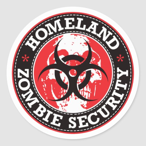 Homeland Zombie Security Skull - Red Round Stickers