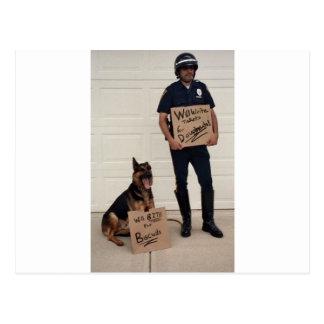 Homeless Cop Tee Shirt Postcard