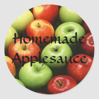Homemade Applesauce Green Red Apples Canning Label Round Sticker