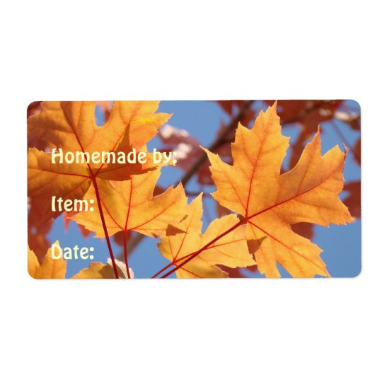 Homemade By Date label stickers Autumn leaves