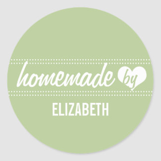 Homemade by you light green food label jar seal round sticker