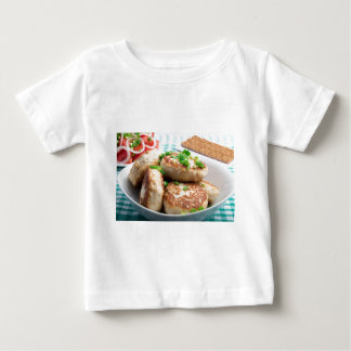 Homemade chicken burgers and tomato salad baby T-Shirt