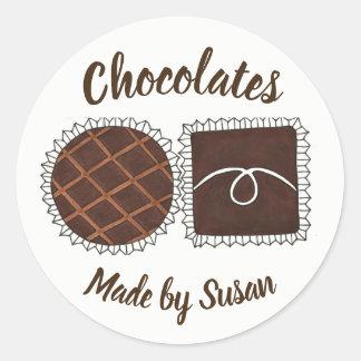 Homemade Chocolate Personalized Chocolatier Bonbon Classic Round Sticker