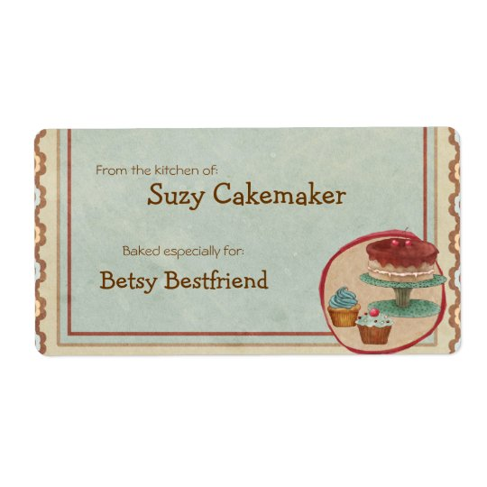 Homemade Dessert Treats Personalised Labels