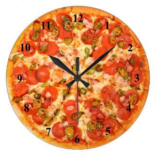 Homemade Ham Peppers Pepperoni Pizza Time Wallclock