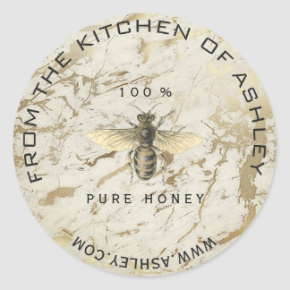 Homemade Honey Kitchen Marble Bee Web Sepia Classic Round Sticker