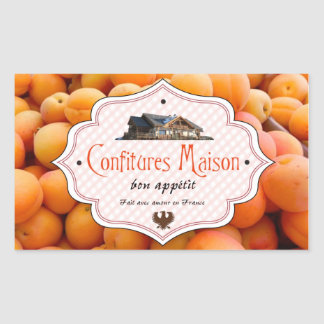 Homemade Jam French Label Apricot Rectangular Sticker