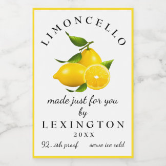 Homemade Limoncello Meyer Lemons Bottle Label |