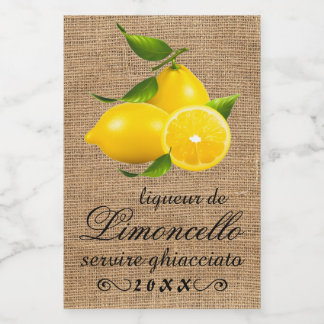 Homemade Limoncello Small Bottle Label |