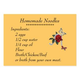 Homemade Noodles Recipe Card Business Card Templates