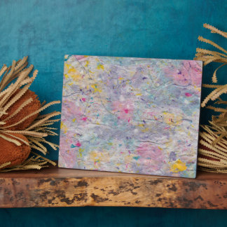 Homemade Paper with Colorful Pulp Accents Plaque