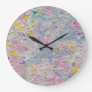 Homemade Paper with Colorful Pulp Accents Wall Clocks