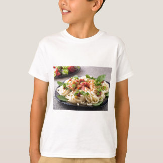 Homemade pasta with stewed chicken and vegetable T-Shirt