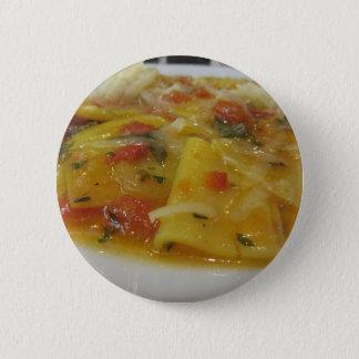 Homemade pasta with tomato sauce, onion, basil 6 cm round badge