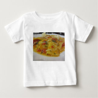Homemade pasta with tomato sauce, onion, basil baby T-Shirt