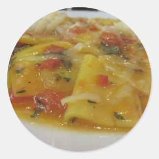 Homemade pasta with tomato sauce, onion, basil classic round sticker