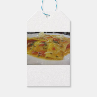 Homemade pasta with tomato sauce, onion, basil gift tags