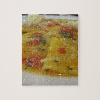 Homemade pasta with tomato sauce, onion, basil jigsaw puzzle
