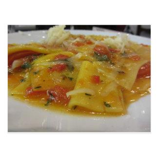Homemade pasta with tomato sauce, onion, basil postcard