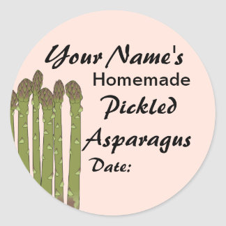 Homemade Pickles Canning Jar Lid Labels Asparagus Round Sticker