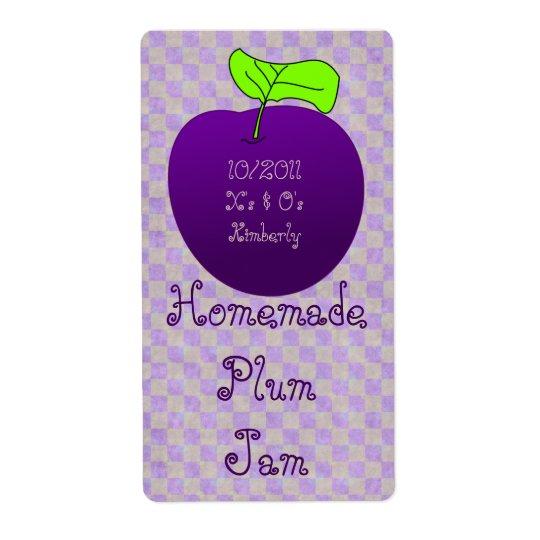 Homemade Plum Jam Jar Label (Customise)